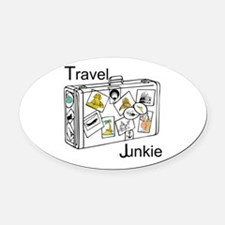Travel Junkie Oval Car Magnet