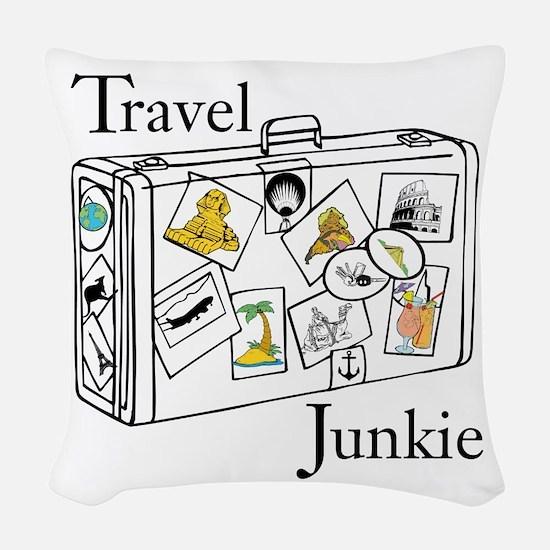 Travel Junkie Woven Throw Pillow