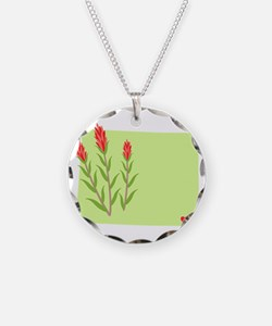 Wyoming State Outline Indian Paintbrush Flower Nec
