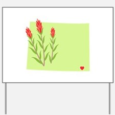 Wyoming State Outline Indian Paintbrush Flower Yar