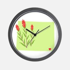 Wyoming State Outline Indian Paintbrush Flower Wal