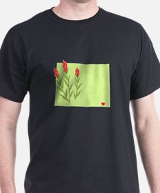 Wyoming State Outline Indian Paintbrush Flower T-S