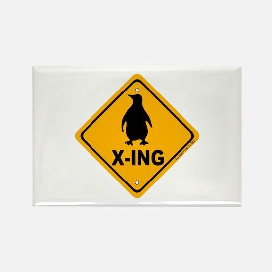 Penguin X-ing Rectangle Magnet (10 pack)