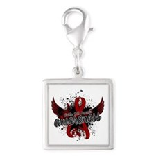 Sickle Cell Anemia Awareness Silver Square Charm