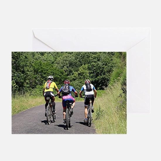 Bike riders on El Camino, Spain Greeting Card