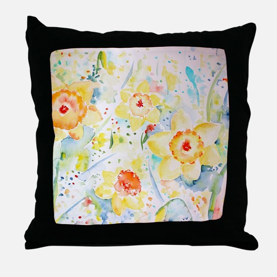 Watercolor yellow flowers daffodils p Throw Pillow