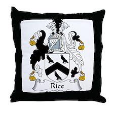 Rice Family Crest Throw Pillow