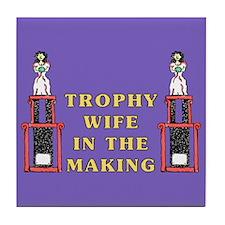 Trophy Wife Engagement Tile Coaster