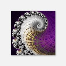 "Fractal Abstract Purple Bea Square Sticker 3"" x 3"""