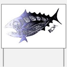 Blue Chrome  Retro Tuna. Fish Retro Tuna Yard Sign