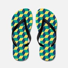 Emerald, Monaco Blue and Lemon Zest Flip Flops