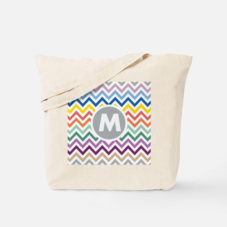 Monogram Chevron Tote Bag