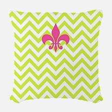 Lime Chevron & Fleur de Lis Woven Throw Pillow