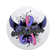 Male Breast Cancer Awareness 16 Ornament (Round)