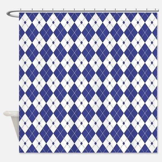 Royal Blue Argyle Shower Curtain