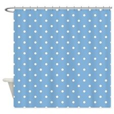 Dots: White on Placid Blue Shower Curtain