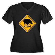 Hippo X-ing Women's Plus Size V-Neck Dark T-Shirt