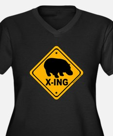 Hippo X-ing Women's Plus Size V-Neck Dark T-Shirt