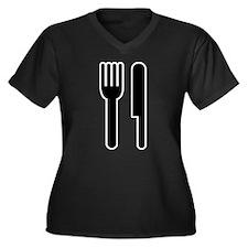 Fork & Knife Women's Plus Size V-Neck Dark T-Shirt