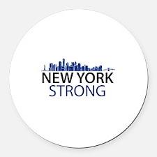New York Strong - Skyline Round Car Magnet