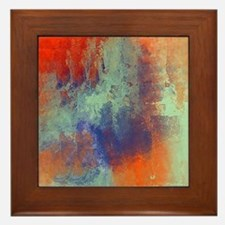 Abstract in Green, Blue, and Orange Framed Tile