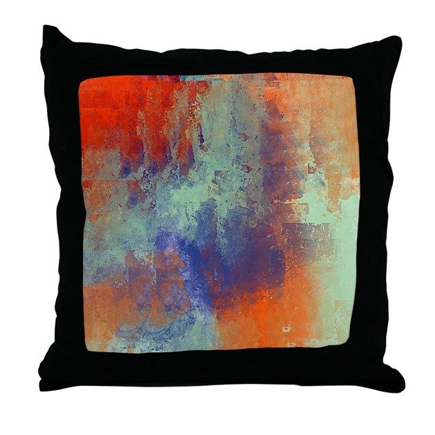 Blue Green Orange Throw Pillows : Abstract in Green, Blue, and Orange Throw Pillow by listing-store-113075623