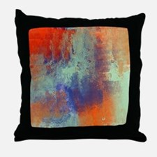 Abstract in Green, Blue, and Orange Throw Pillow