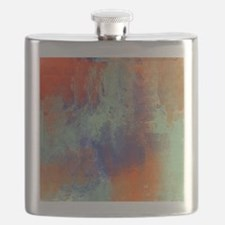 Abstract in Green, Blue, and Orange Flask
