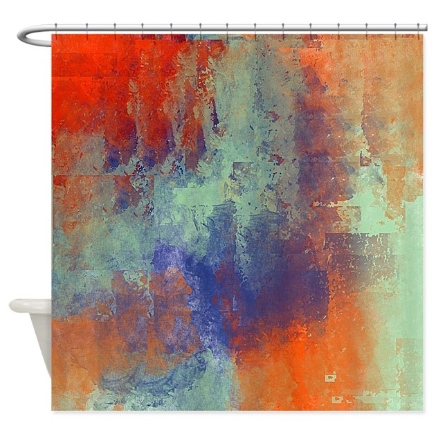 Abstract In Green Blue And Orange Shower Curtain By Listing Store 113075623