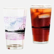 Santa Monica Pier Pink Grunge Drinking Glass