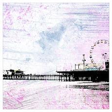 Santa Monica Pier Pink Grunge Poster