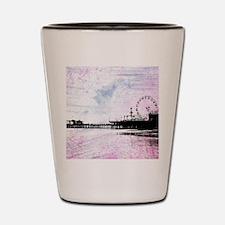 Santa Monica Pier Pink Grunge Shot Glass
