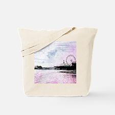 Santa Monica Pier Pink Grunge Tote Bag