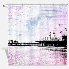 Santa Monica Pier Pink Grunge Shower Curtain