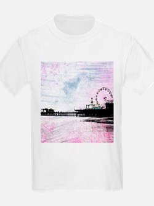 Santa Monica Pier Pink Grunge T-Shirt