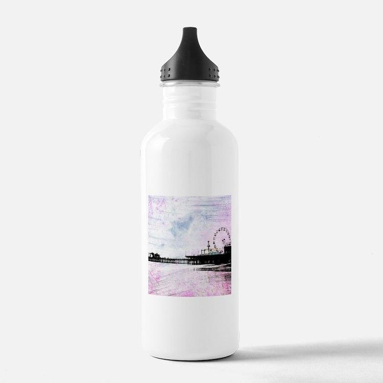 Santa Monica Pier Pink Water Bottle