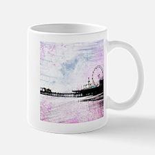 Santa Monica Pier Pink Grunge Mugs