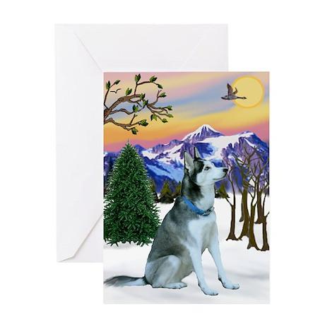 Winter Sunset & Alaskan Husky Greeting Card
