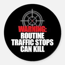 Traffic Stops Kill Round Car Magnet