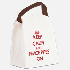 Keep Calm and Peace Pipes ON Canvas Lunch Bag