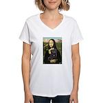 Mona's Black Pug Women's V-Neck T-Shirt