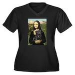 Mona's Black Pug Women's Plus Size V-Neck Dark T-S