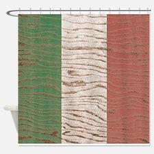 Wood Grain Italian flag Shower Curtain