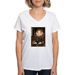 The Queen's Black Pug Women's V-Neck T-Shirt