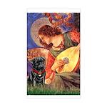 Mandolin Angel / Black Pug Sticker (Rectangle)
