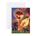 Mandolin Angel / Black Pug Greeting Cards (Pk of 1