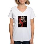 Lady / Black Pug Women's V-Neck T-Shirt