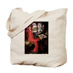 Lady / Black Pug Tote Bag