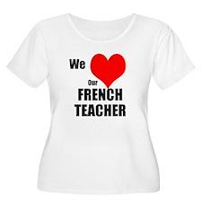 Women's Scoop Neck French Teach Plus Size T-Sh