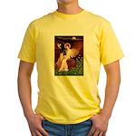 Winged Figure / Black Pug Yellow T-Shirt